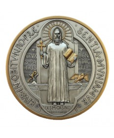 "St Benedict Medal Plaque in Pewtewr Style Finish 7"" dia."