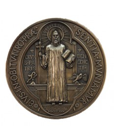 "St Benedict Medal Plaque in Cold Cast Bronze 7"" dia."