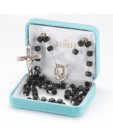 8 mm Cocoa Black Beads Sterling Silver Rosary