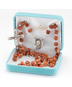 8 mm Cocoa Brown Beads Sterling Silver Rosary