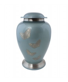 "Memorial Urn - Blue Brass 10-1/4""H"