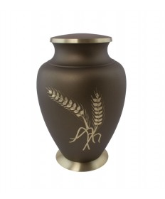 "Memorial Urn - Brown Brass 9-3/4""H"