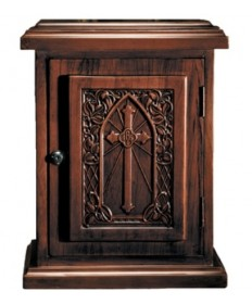 Tabernacle in Wood with Cross Walnut Stain